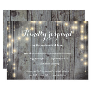 Rustic Lights Wood RSVP Flat Card