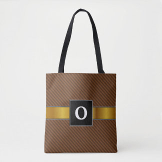 Rustic-Like Dark Brown & Lighter Brown Stripes Tote Bag
