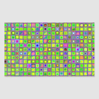 Rustic Lime Green Mosaic 'Clay' Tiles Pattern Rectangular Sticker