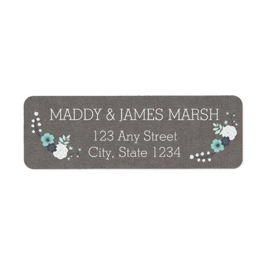 Rustic Linen and Blue Flowers Wedding Return Address Label