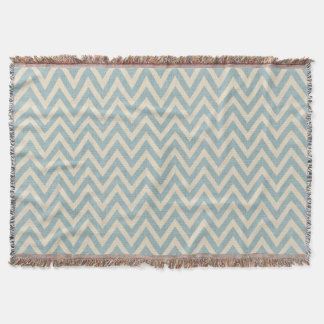 Rustic Linen Beige and Blue Chevron Throw Blanket