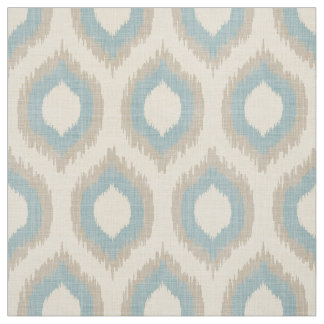Rustic Linen Beige and Blue Ikat Print Fabric
