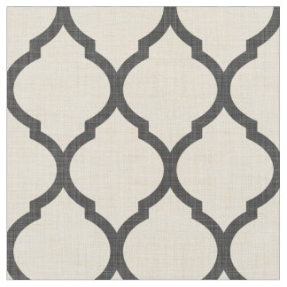 Rustic Linen Beige and Gray Moroccan Quatrefoil Fabric