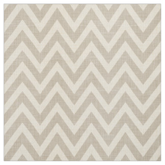 Rustic Linen Beige and Taupe Chevron Fabric