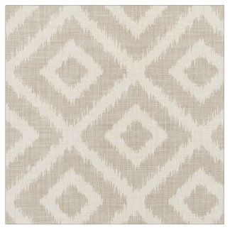 Rustic Linen Beige and Taupe Ikat Diamonds Fabric
