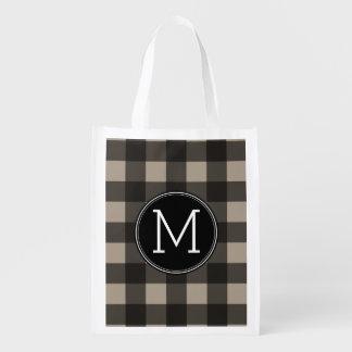 Rustic Linen Black Buffalo Plaid gingham Monogram Reusable Grocery Bag