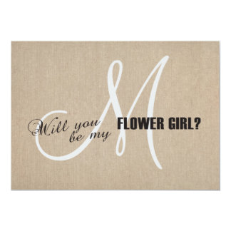 Rustic Linen Canvas Wedding Be My Flower Girl Card