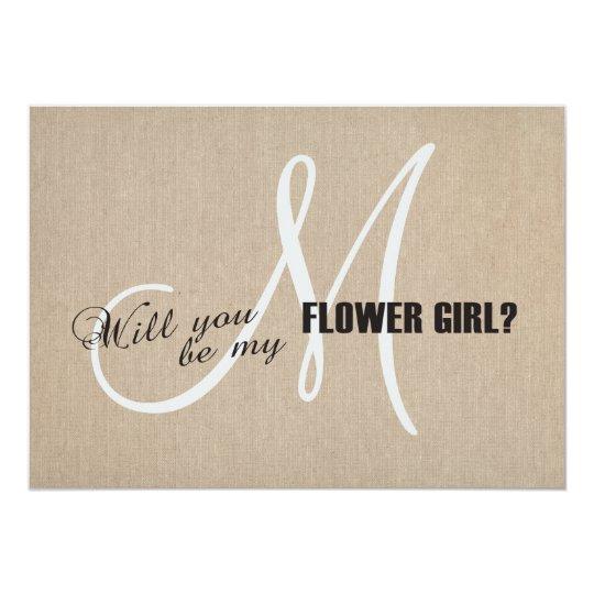 Rustic Linen Canvas Wedding Be My Flower Girl