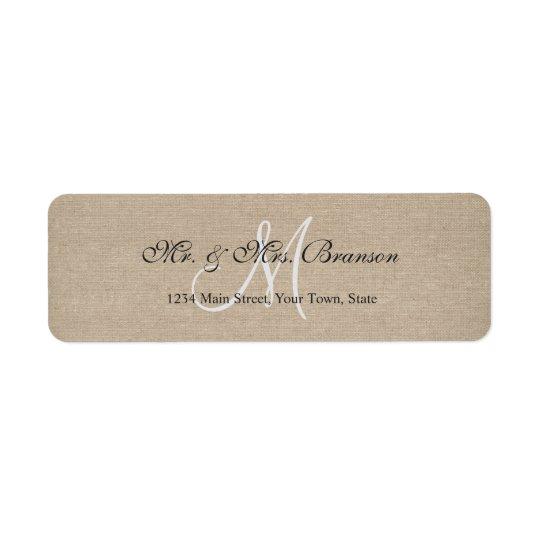 Rustic Linen Canvas Wedding Monogram Initial