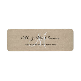 Rustic Linen Canvas Wedding Monogram Initial Return Address Label