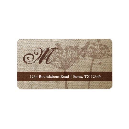 Rustic Linen Monogram Address Labels Large