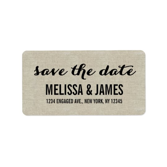 Rustic Linen Script Save the Date Label