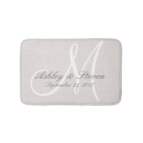Rustic Linen Wedding Monogram Bath Mat