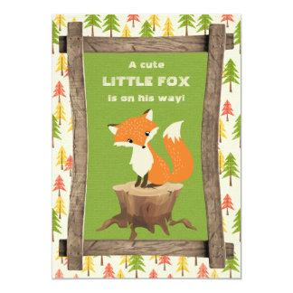 Rustic Little Fox Boy Baby Shower 13 Cm X 18 Cm Invitation Card