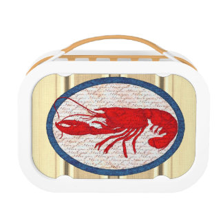 Rustic Lobster Vintage Red White Blue Nautical Lunch Box