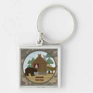 Rustic Lodge Cabin Keys with Bear and Moose Silver-Colored Square Key Ring