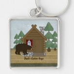 Rustic Lodge Cabin Keys with Personalised Name Silver-Colored Square Key Ring