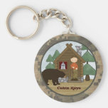 Rustic Lodge: Camo Cabin Keys with Bear Basic Round Button Key Ring