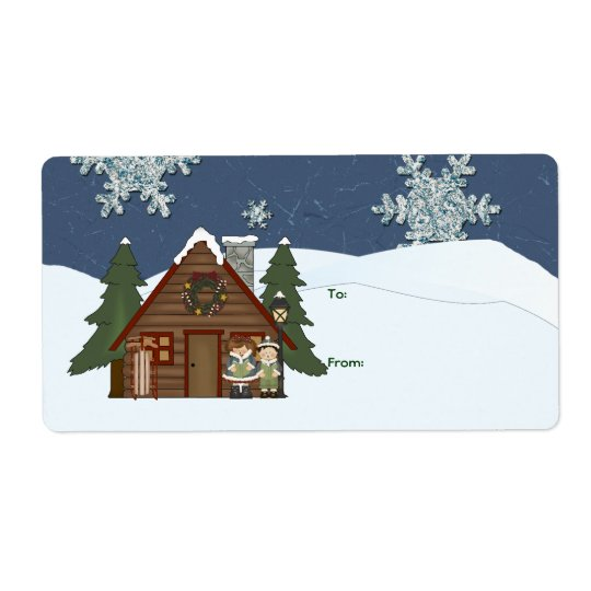 Rustic Lodge Country Cabin Christmas at Night Shipping Label