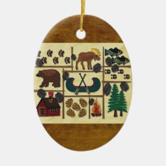 Rustic Lodge Country Cabin Christmas Ceramic Oval Decoration
