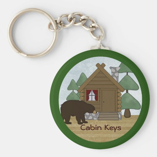 Rustic Lodge Country Cabin Keys with Bear Basic Round Button Key Ring