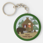 Rustic Lodge Country Cabin Keys with Bear Custom Basic Round Button Key Ring