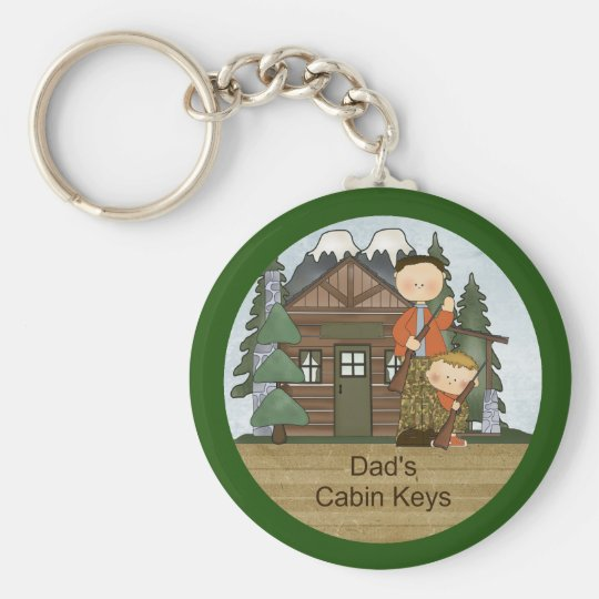 Rustic Lodge Hunting Dad and Boy at Cabin Custom Basic Round Button Key Ring
