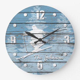 Rustic Look Downhill Ski Your Text Large Clock