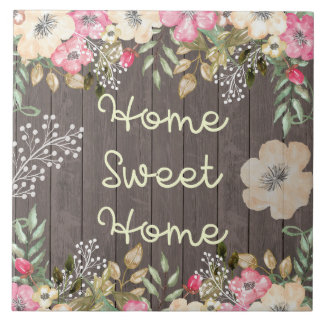 Rustic Look Home Sweet Home Floral Wood Large Square Tile
