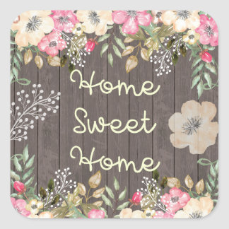 Rustic Look Home Sweet Home Floral Wood Square Sticker