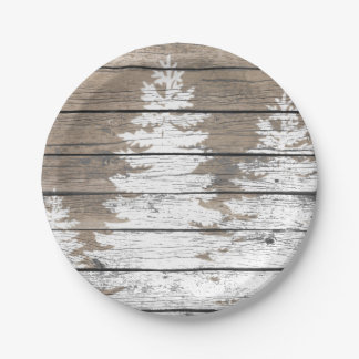 Rustic Look Pines Personalize Paper Plate