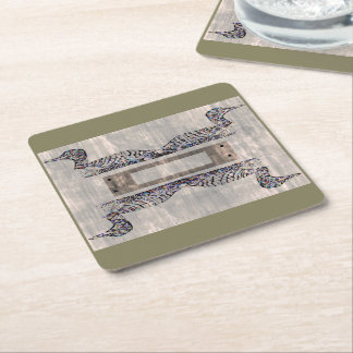 Rustic Loon Reflections Square Paper Coaster