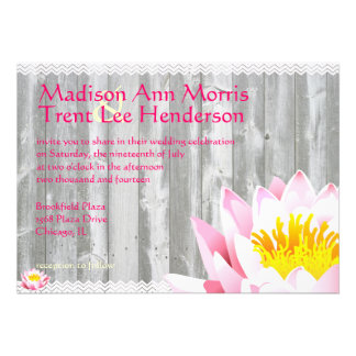 Rustic Lotus Flower  & Chevron Wedding Invitation