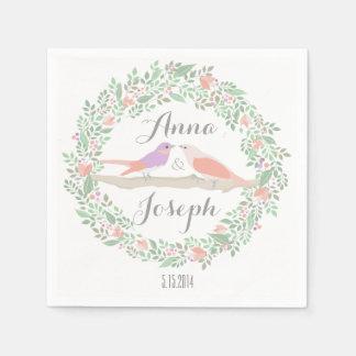 Rustic Love birds Wedding Napkins Paper Napkin