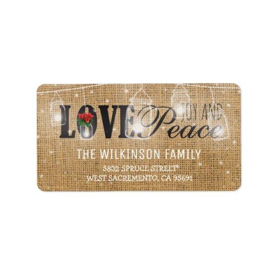 Rustic Love, Joy & Peace Christmas Holidays Label