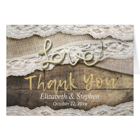 Rustic Love Rope Burlap Lace Wedding Thank You
