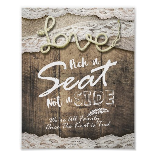 Rustic Love Rope Pick A Seat Not A