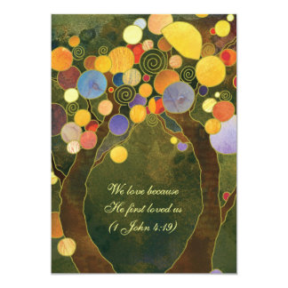 Rustic Love Trees Olive Green Wedding Card