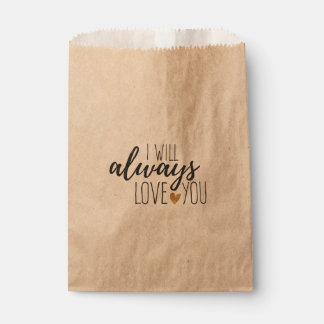 Rustic Love You Quote Wedding  Bridal Shower Favour Bags