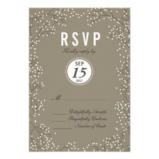 Rustic Lovely Baby's Breath Wedding RSVP Card