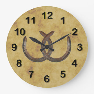 Rustic Lucky Horseshoes Distressed Background Large Clock