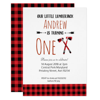 Rustic Lumberjack Birthday Woodland Invitation