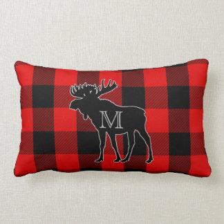 Rustic Lumberjack Plaid | Monogram Moose Lumbar Lumbar Cushion