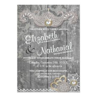Rustic Lush Lace Wedding Invitation