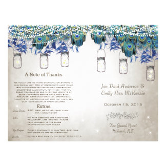 Rustic Luxe Mason Jar Peacock Program Flyer