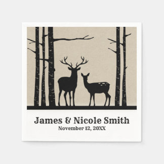 Rustic Male Female Doe Deer Black Birch Wedding Paper Napkins
