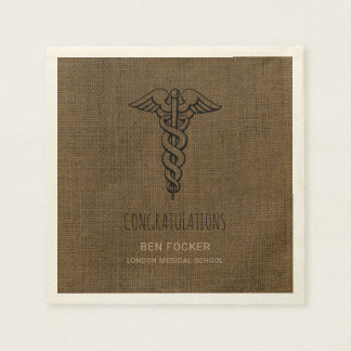 Rustic Male Nurse Graduation Party | Caduceus Paper Napkins