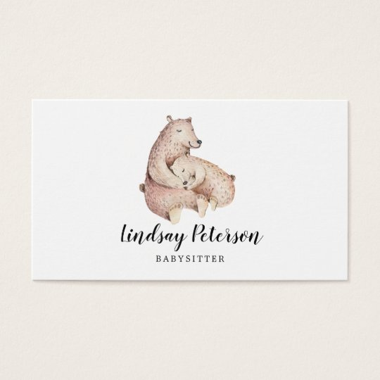 Rustic Mama Bear Babysitter Business Cards
