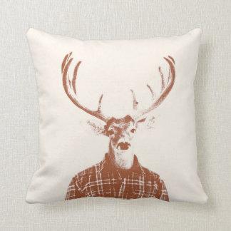 Rustic Man Buck with Antlers in Burnt Orange Cushion