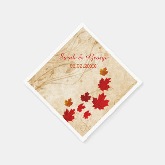 Rustic Maple Leaves, Fall wedding Paper napkins Disposable Serviette